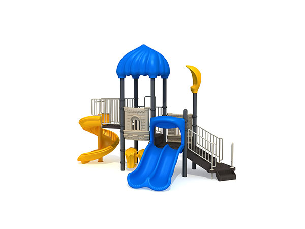 Commercial playground equipment with spiral slide in small size suitable for church and daycare