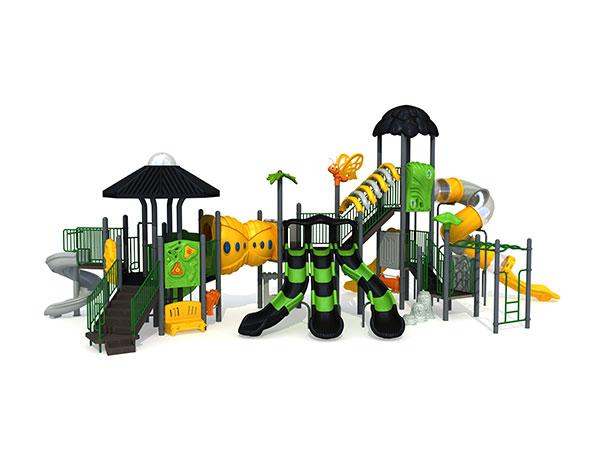 Speelgoed van plastiek en staal sodat kinders kan leer speel in die park