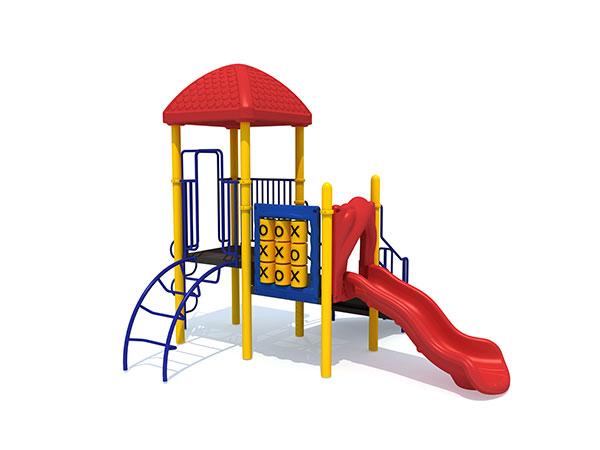 Fabriek bied aantreklike pryse speelgoed vir kinders wat speel in parke of gemeenskapsareas