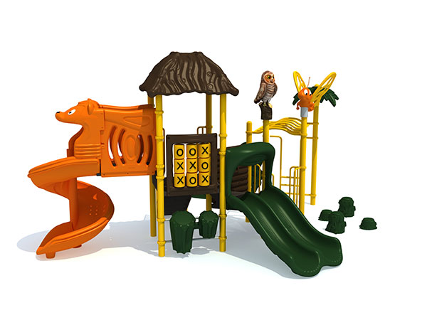 Children play games in outdoor play structure and interactive with their playmates