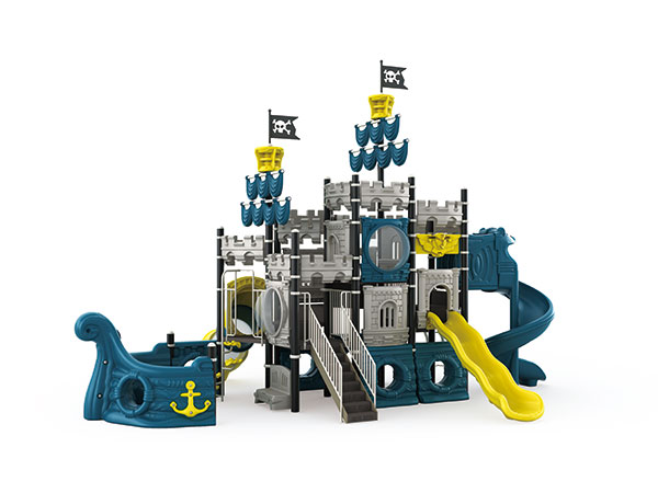 Pirate ship theme playground equipment for kids to play in resort or hotel