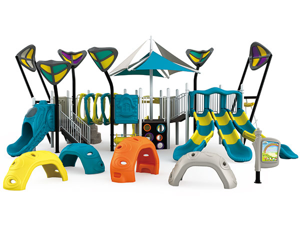 Colorful playground made of plastic and aluminum to avoid rust good for beach playground