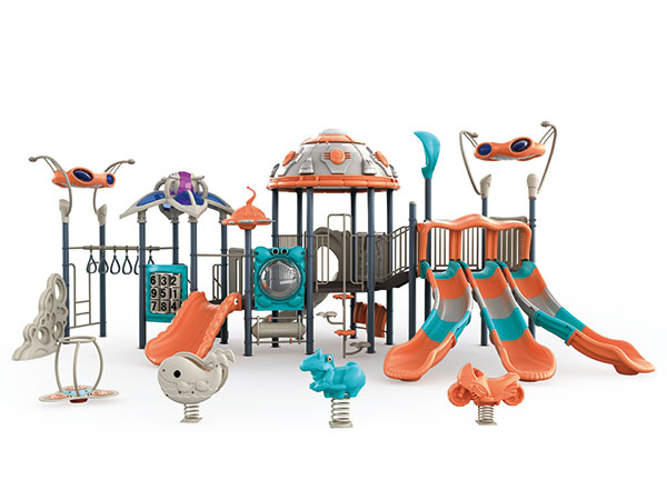 Outdoor playground in bright colors with slides and play activities for kids to play on beach