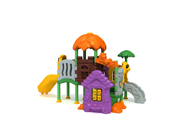 Full plastic play set with bright colors and cute images for kids to play in daycare playground