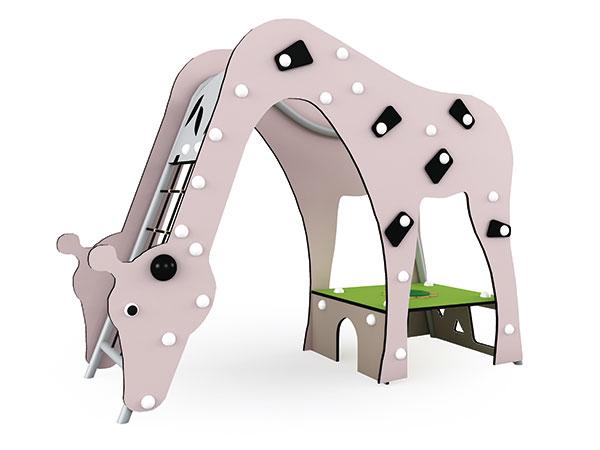 Speelplek met 'n kameelperdontwerp vir voorskoolse kinders om met mekaar te kommunikeer