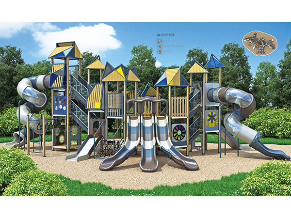 Castle theme playground with a bunch of play activities