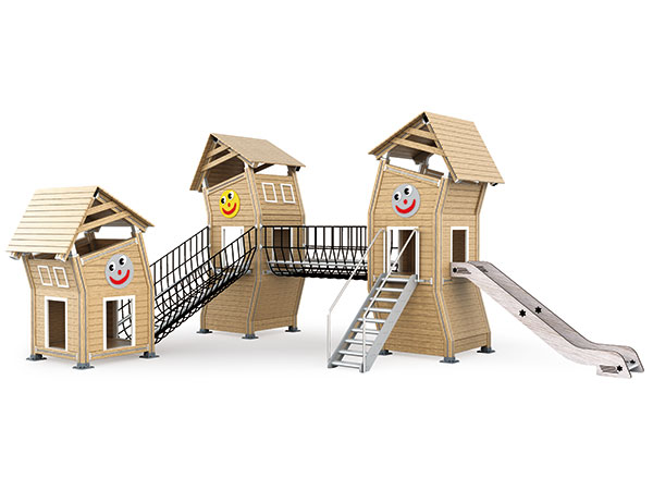 Park playground equipment with play houses made in environmental material good for park and camping