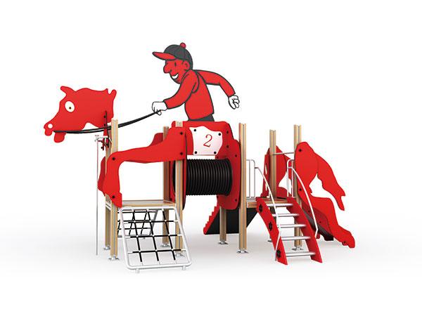 يلعب الأطفال معدات ألعاب خارجية لمنتجع أو حدائق