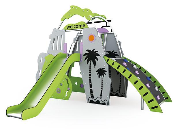 Klein speeltoerusting vir buitenshuise speelplek vir kinders om in die kleuterskool of park te speel