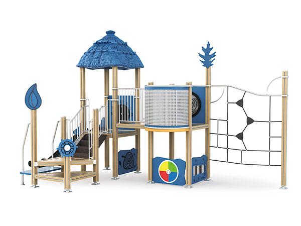 Buitelugterrein met aktiwiteitspanele vir kinders om op die skool se speelterrein te speel
