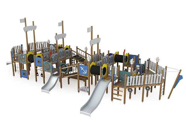 Pirate ship playground for kids to play with their friends in park or school
