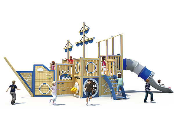 Play equipment in pirate ship theme with tube slide for kids to play games in schools