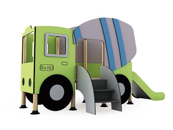 هيكل اللعب على شكل شاحنة أسمنت مع متسلق وشريحة جيدة للعب الأدوار لطلاب رياض الأطفال