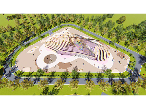 Kaiqi customized playground equipment with crab-apple flower support for Daza Xiang Guo Park