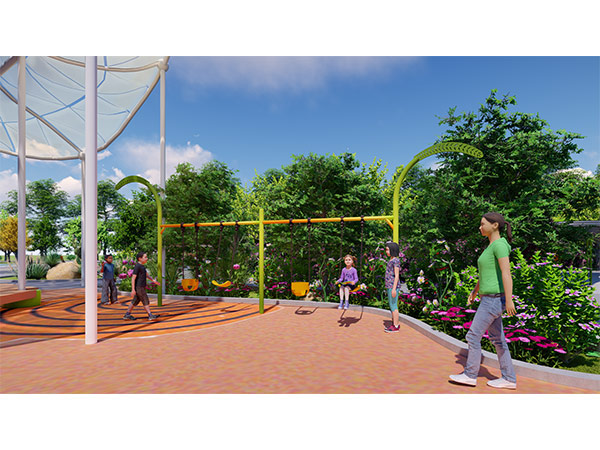 Outdoor Park in the theme of Home of Sunflower with many play equipments related to sunflower