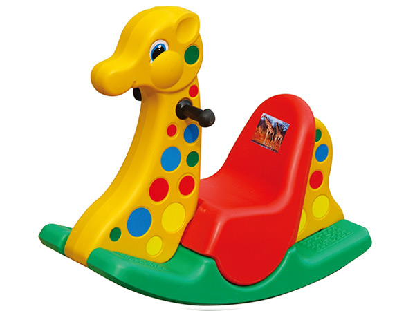 Plastic kids rider triple color giraffe shape, classic ride toddler gift ride on toy indoor outdoor