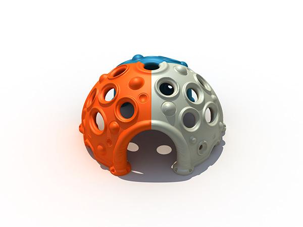 Plastiek koepelklimmer vir kinders om te klim en weg te steek in die buitenshuise speelgrond