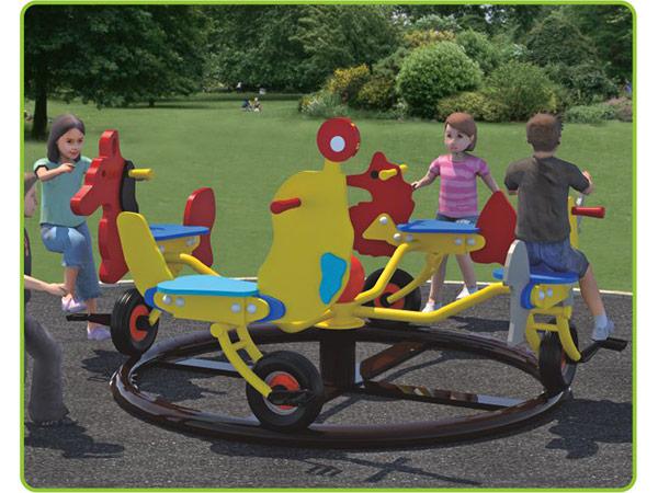 Colorful HDPE kids Merry go round animal theme bicycle merry go round children's amusement playground