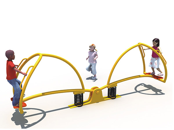 Buitelug pretpark wipplank vir twee kinders om te speel