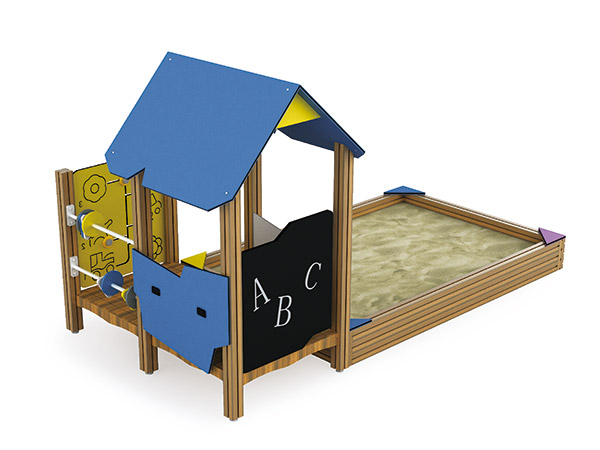 Outdoor Sand play box  with play panels for kids to play water and sand
