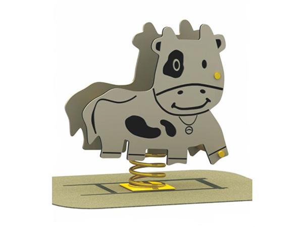 Kids playground spring rocker cow for kindergarten