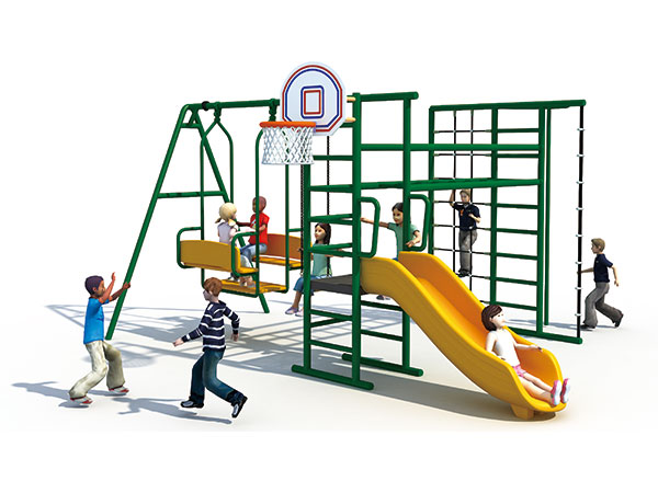 Multi-functional swing set with slide and climber