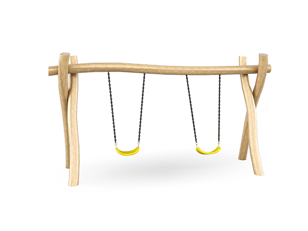 Swing set made of solid wood for park playground
