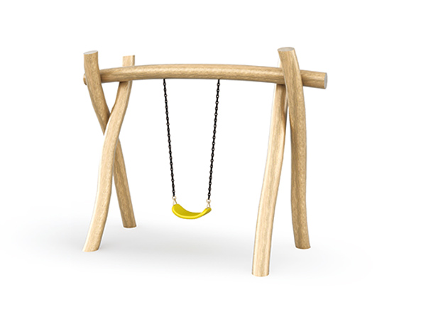 Single seat swing set made in natural solid wood