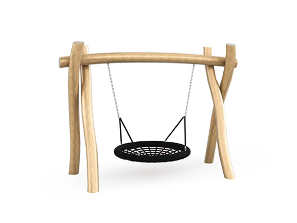 Swing set with bird nest seat made in natural solid wood